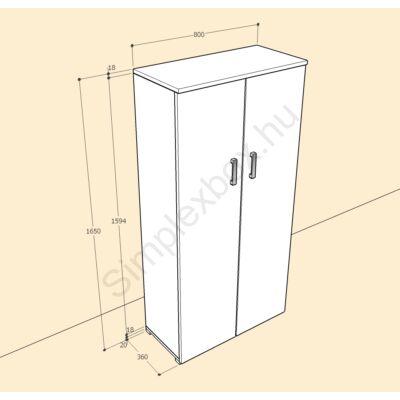 BIA1650AS Bianka 4 polcos 2 ajtós szekrény