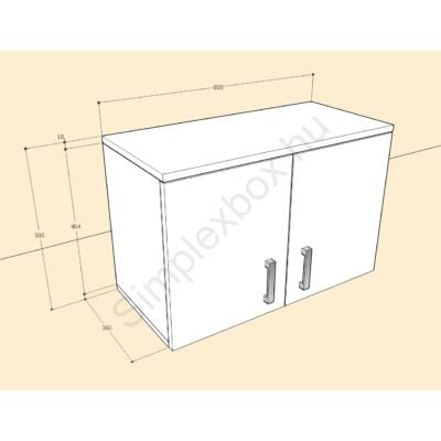 BIA500F Bianka 2 polcos felső szekrény elem